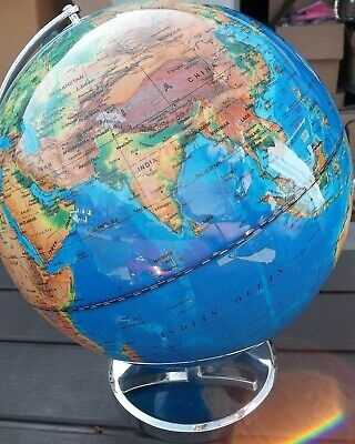 Decorative Large Globe on Metal Stand Cream and Gold 32cm