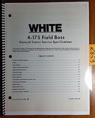Wfe White 4-175 Field Boss Tractor General Service Specifications 432 810 180