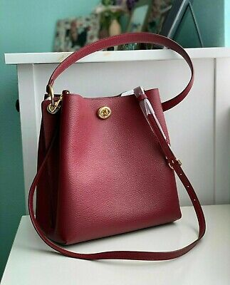 Coach Charlie Turnlock Pebbled Leather Bucket Shoulder Bag Deep Red 55200 NWT Deep Red Leather Handbag