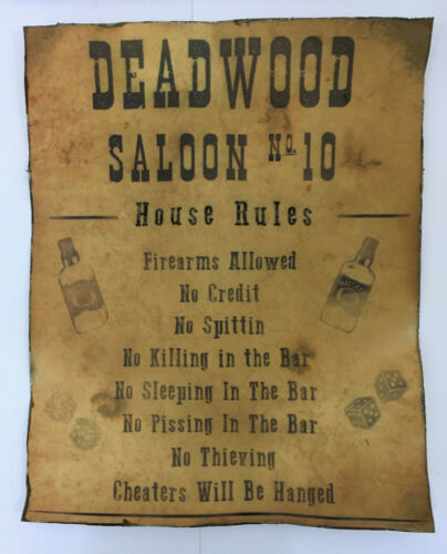 Tombstone Deadwood Saloon House Rules Poster Old West Western Bar - 2 Prints