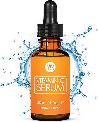 Bioniva Vitamin C Serum Hyaluronsäure Gesicht Anti Falten Kollagen Booster 30 ml - Gesicht Feuchtigkeitscreme, Vitamin