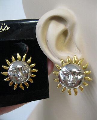 Vtg New Well Made Gold & Silver Sun Face Drop Stud Pierced Earrings 70's 80's - Sun Drop Costumes