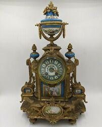 Antique French Bronze Gilt & Blue Porcelain Sevres Panel Mantel Clock