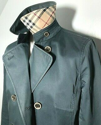 Womens Burberry Pea Coat Navy Blue Tartan Size UK 10/12 (42) *RRP £595* 9-262
