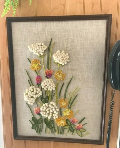 VINTAGE HAND EMBROIDERED CREWEL WORK FRAMED WALL ART 3D TEXTURED FLOWERS SIGNED