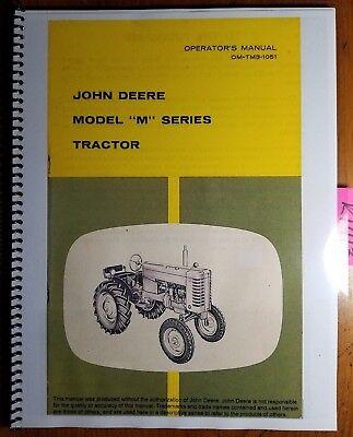 John Deere Model M Series Tractor Owners Operators Manual Om-tm3-1051 1051