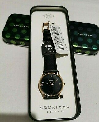 Fossil THE ARCHIVAL SERIES MOOD WATCH THREE-HAND BLACK LEATHER WATCH LE1066