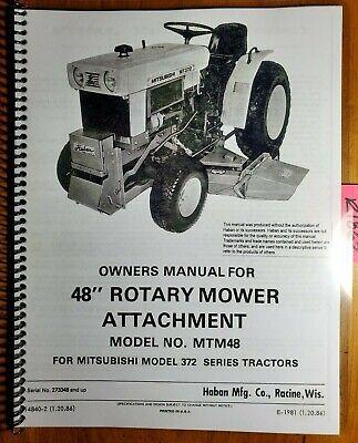 Haban Mtm48 48 Mower Sn 273348- For Mitsubishi Mt372 372 Tractor Manual 1086