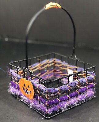 Halloween Candy Basket Size Medium Black Iron Basket 6 1/2