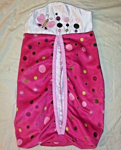 Lambs & Ivy Raspberry Swirl Nursery Crib Diaper Stacker Pink Green Butterfly