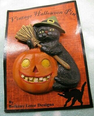Vintage Halloween Brooch Pin Bethany Lowe Designs Black Witch Cat & Pumpkin