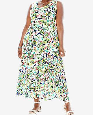 Crinkle Maxikleid Paisley weiß Sommerkleid Plus size Gr.46-58/60