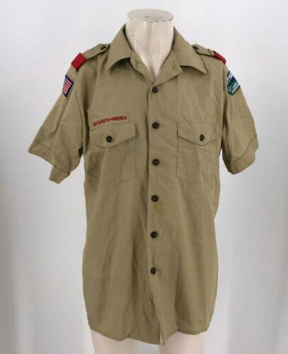 BSA BOY SCOUTS ~ MENS  LARGE ~ UNIFORM BUTTON UP SHORT SLEEVE SHIRT