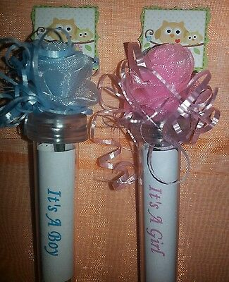 Baby shower favor owl flower seed tubes It's a boy girl pink or blue any color - Owl Boy Baby Shower
