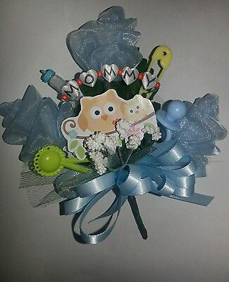 Baby shower owl MOMMY  corsage pink or blue boy or girl - Owl Boy Baby Shower