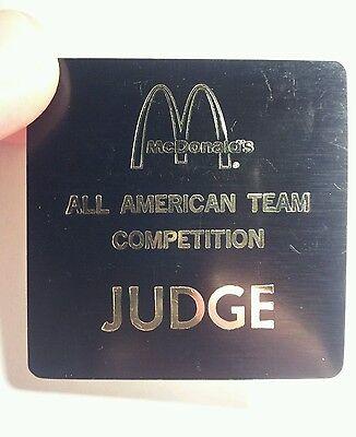 Vintage Rare McDonald's All American Team Competition JUDGE Badge.
