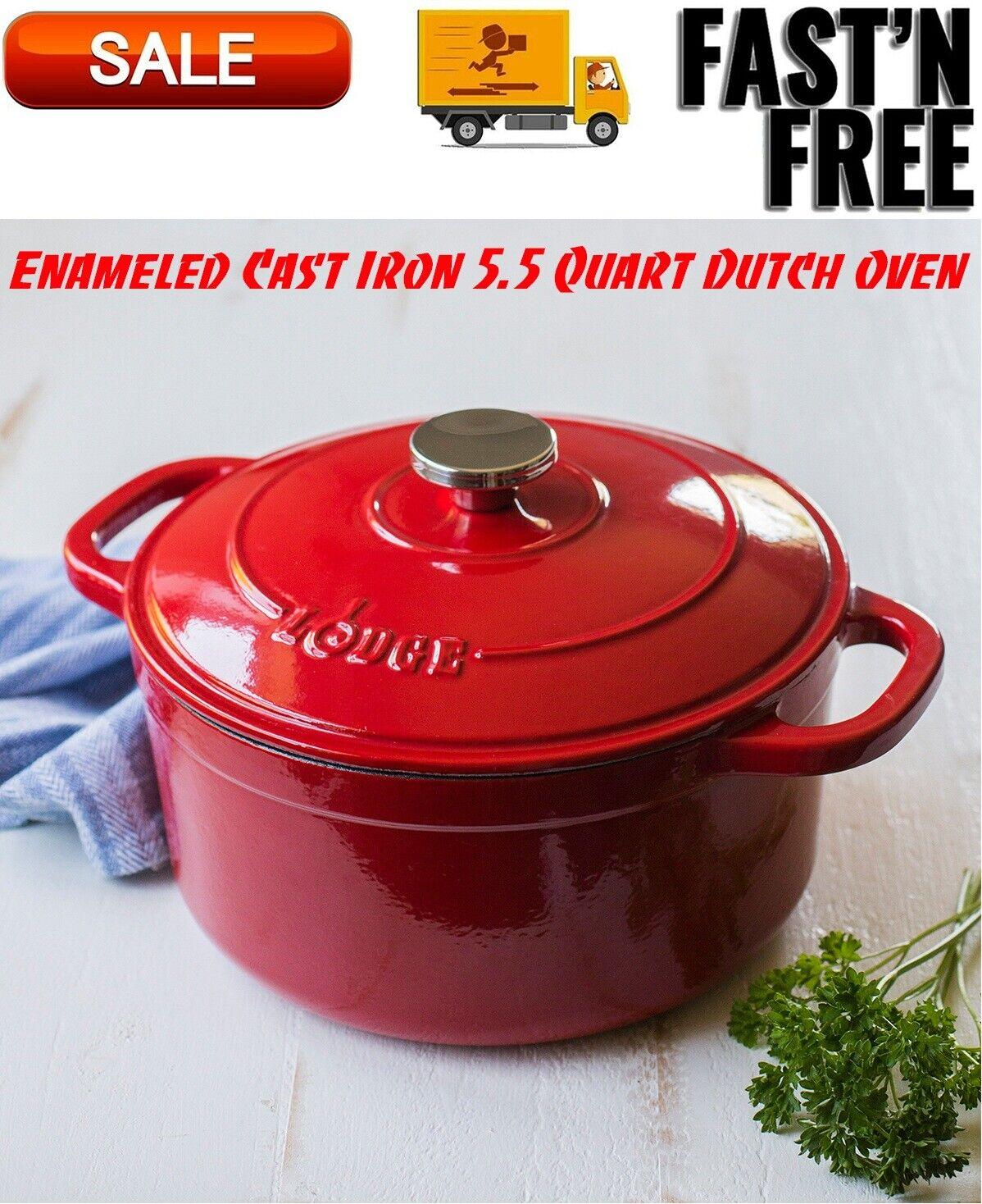 Lodge Enameled Cast Iron 5.5 Quart Dutch Oven, Cookware, Pot