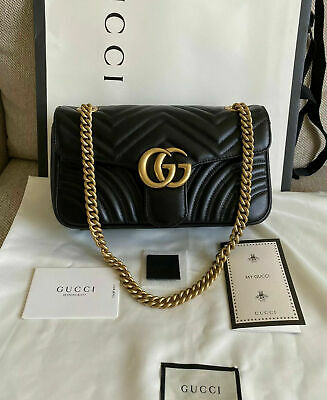 New Gucci GG Small Marmont Black Leather Shoulder Crossbody Bag