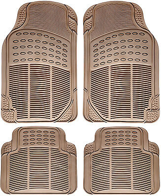Auto Floor Mats for BMW Car SUV 4pc Set All Weather Rubber Semi Custom Fit Beige