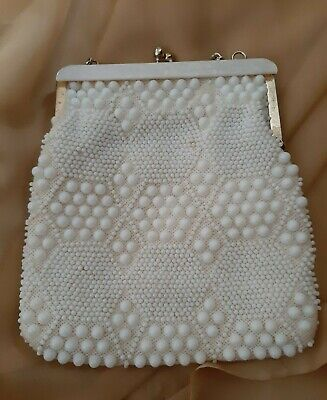1950s Handbags, Purses, and Evening Bag Styles VTINAGE GOLDCO 1950's White on White Beaded Purse Clutch Hong Kong Geometric $28.33 AT vintagedancer.com