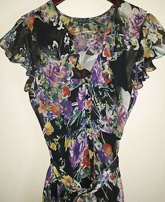 LAUREN RALPH LAUREN DRESS MIDI FLORAL BRIGHT LINED SILK LINED TIE RUFFLE SZ 8