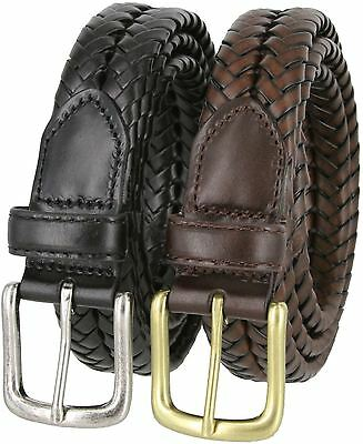 Men's Genuine Leather Woven Braided Casual Dress Belt 1-1/4