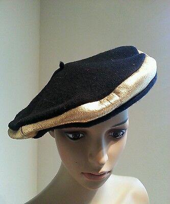 901c30f2d001e Vtg 50 s Frank Olive Neiman Marcus Black Gold Leather Metallic Wool Beret  Hat