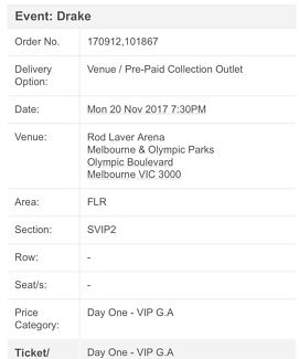 DRAKE ONE DAY TICKETS