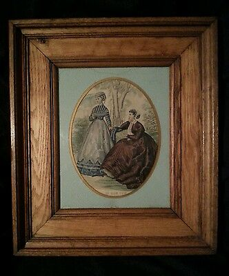 "Antique French engraving Le Bon Ton ca. 1860's 13.5"" by 15.5"" antique oak frame"