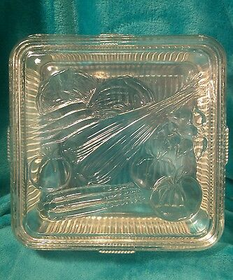 """CLEAN VINTAGE FEDERAL 8.5"""" SQUARE GLASS VEGETABLES REFRIGERATOR DISH WITH LID"""