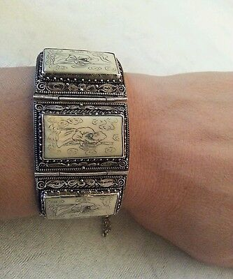 Vtg Antique Chinese Silver 7 Links Immortals Scrimshaw Filigree Bracelet