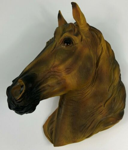 """Horse Head Wall Mounted Hanging Plaque Brown Tan Bay Farm Ranch 3D 11"""""""