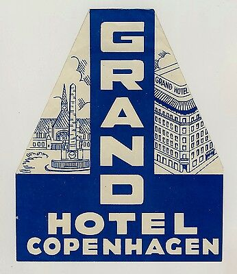 Grand Hotel Copenhagen COPENHAGEN Denmark * Old Luggage Label Kofferaufkleber