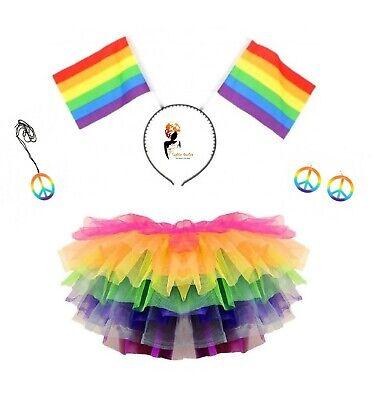 RAINBOW TUTU COSTUME Halloween LGBT Pride Gay Pony Dash Fancy Dress Skirt - Gay Halloween Costume