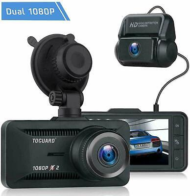 TOGUARD Dual Len Dash Cam Front and Rear 1080P Car Dashboard Backup Cam Recorder
