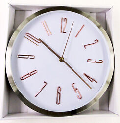 NEW  11.5 STAINLESS IRON WHITE DIAL  WALL CLOCK BRONZE NUMBERS- ITEM # FS25514X