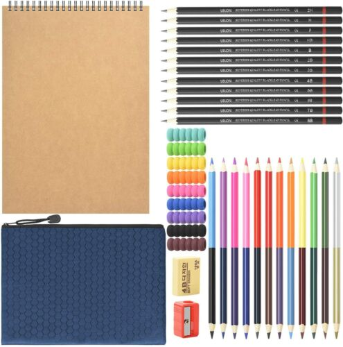 Sketch pencil set, 37-piece art kit with sketchbook and drawing pencils