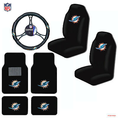 Miami Dolphins Floor Mat (NFL Miami Dolphins Car Truck Seat Covers Floor Mats Steering Wheel)