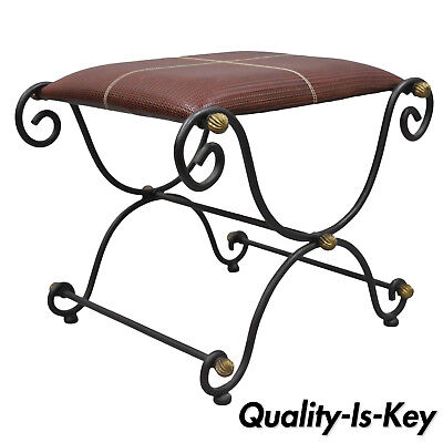 Iron X-Base Frame Curule Bench Stool Chair Woven Red Leather Seat Brass Finials
