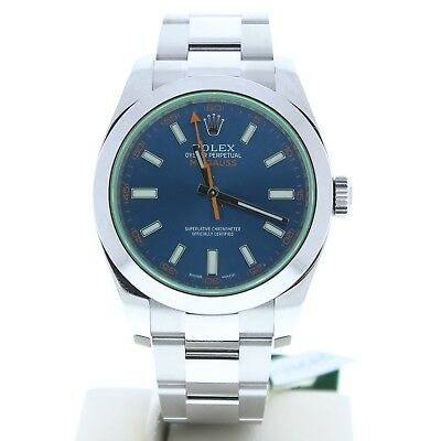 Rolex 116400 Milgauss Stainless Steel Oyster Band Blue Dial & Green Crystal MINT