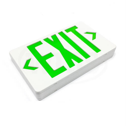 Emergi-Lite ELX400GN Plastic Exit Sign, Green LED, White Sign, 120/277VAC 0.024A