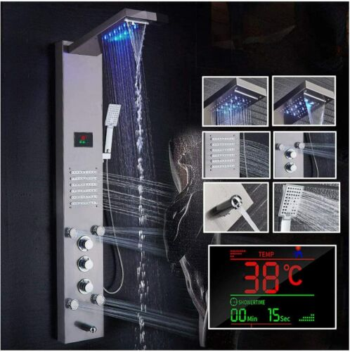 Ello&allo Shower Panel Tower System LED Rain&Waterfall Massage Jet Sprayer Tap