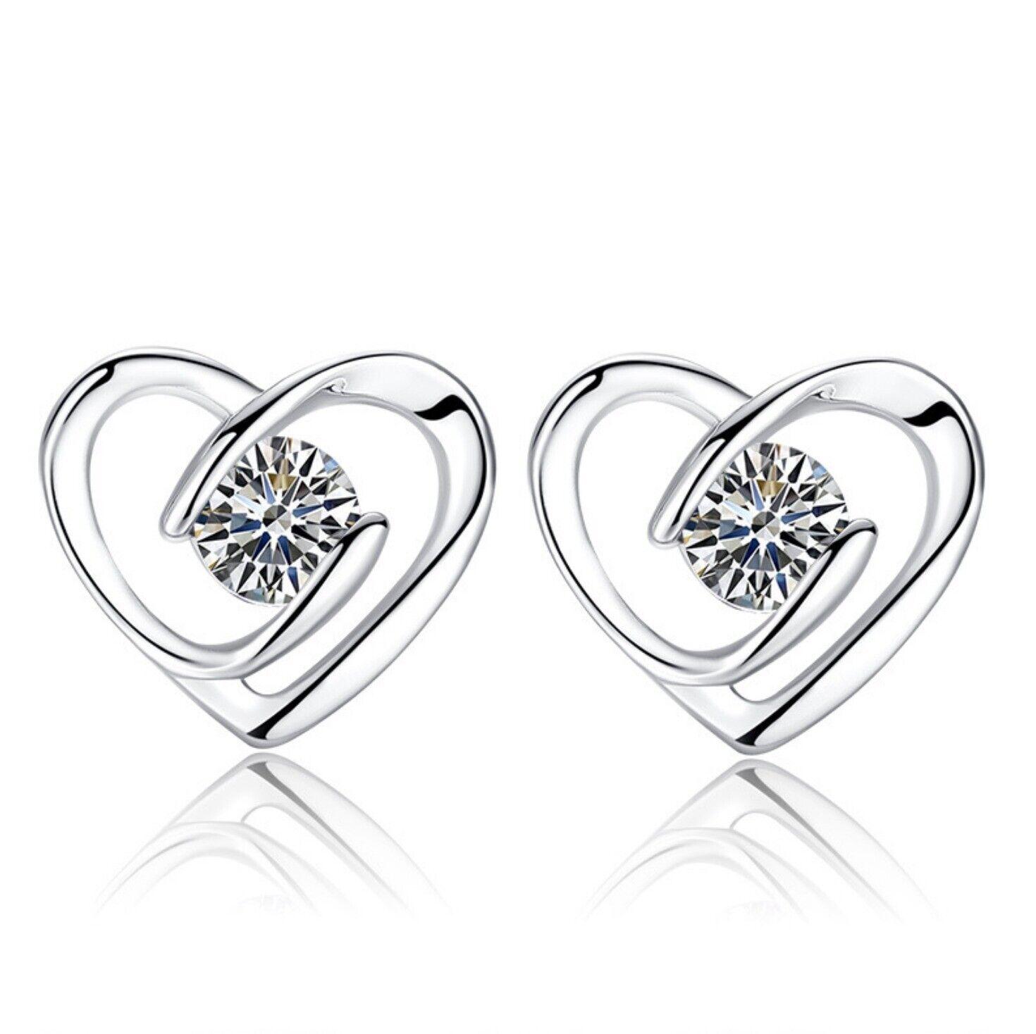 Jewellery - Heart Swirl Stone Stud Earrings 925 Sterling Silver Womens Girls Jewellery Gift