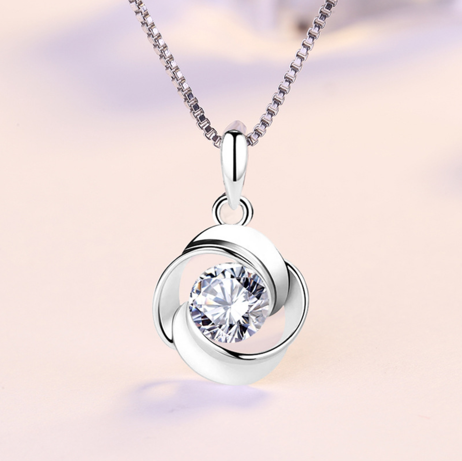 Jewellery - Swirl Stone Twisted 925 Sterling Silver Pendant Chain Necklace Womens Jewellery