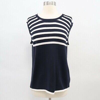 Iris von Arnim Pullover Sweater XL Sleeveless Striped Navy Blue White Cotton