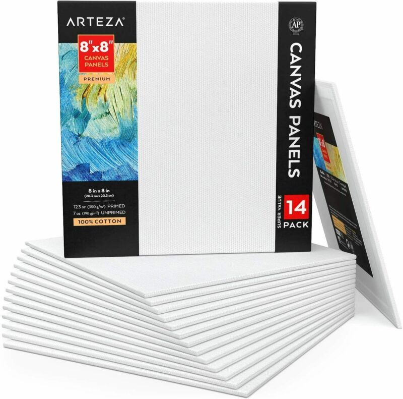 "ARTEZA Canvas Panels, Premium, 8"" x 8"" - Pack of 14"