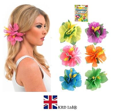 1 x HIBISCUS FLOWER HAIR CLIP Hawaiian Hula Fancy Dress Costume Beach Party UK ()
