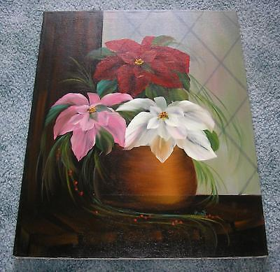 CHRISTMAS PINK WHITE RED POINSETTIA FLOWER HOLLY BERRIES BOTANICAL OIL PAINTING