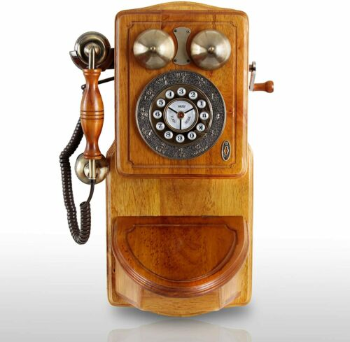 Vintage Style Wooden Phone Wall Mounted Land Line Antique Style Push Button Tele