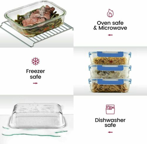Glass Meal Prep Containers Food, Lunch Containers 3-Pack (35oz) BPA-free + Lids 1